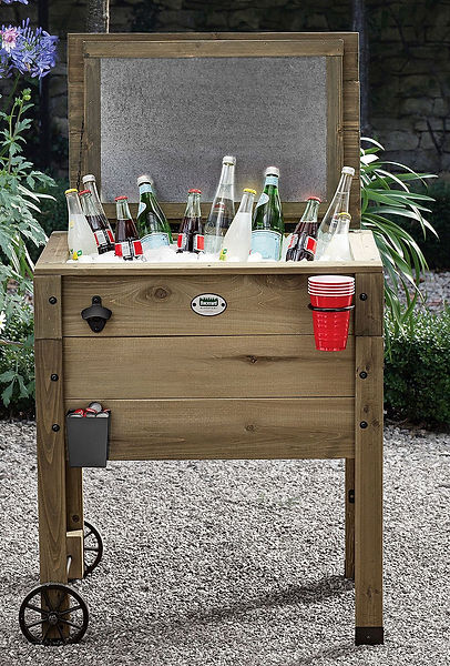 Rustic Wood Stand up Cooler with Lid