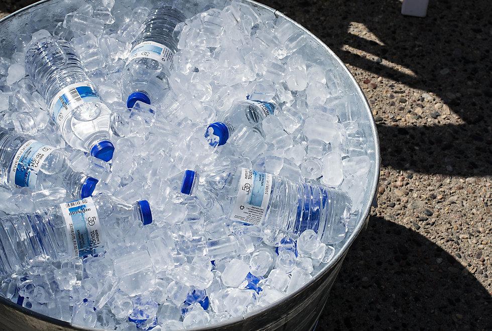 Watter bottles in a ice bath