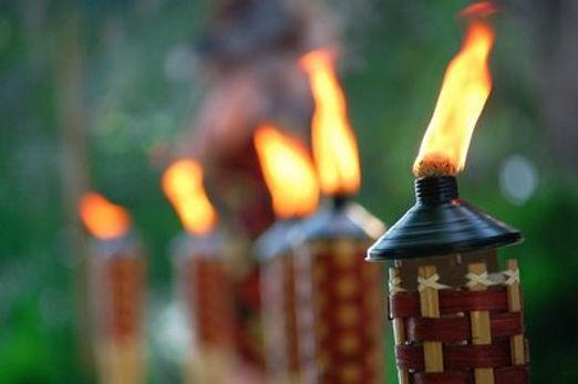 Tiki Torches at a Wedding