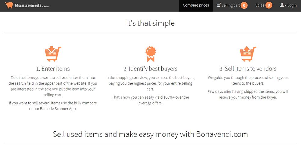 Screenshot taken on bonavendi.com
