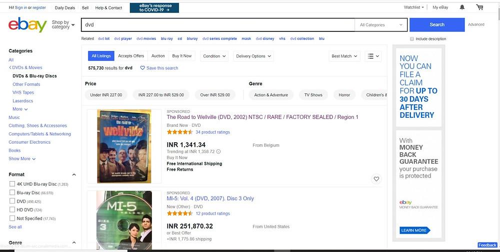 Screenshot taken on eBay