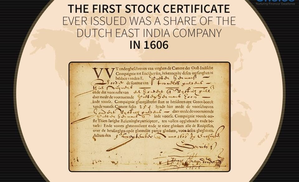 Brief history of the stock market: first stock certificate