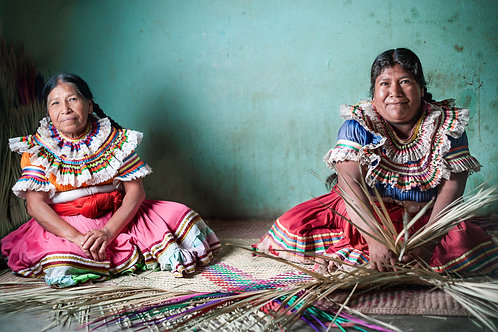The Natives - Nahua of Guerrero | Two women weaving straw carpets