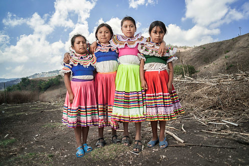 The Natives - Nahua of Guerrero | Four schoolgirls posing outside their school