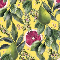 Pear, grapefruit and Juniper Berries on Yellow