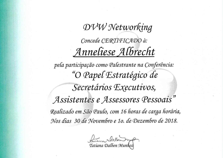 Certificado Palestrante DVW Sinsesp 2018