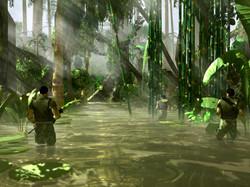 3D Rendered Jungle River Mock Up