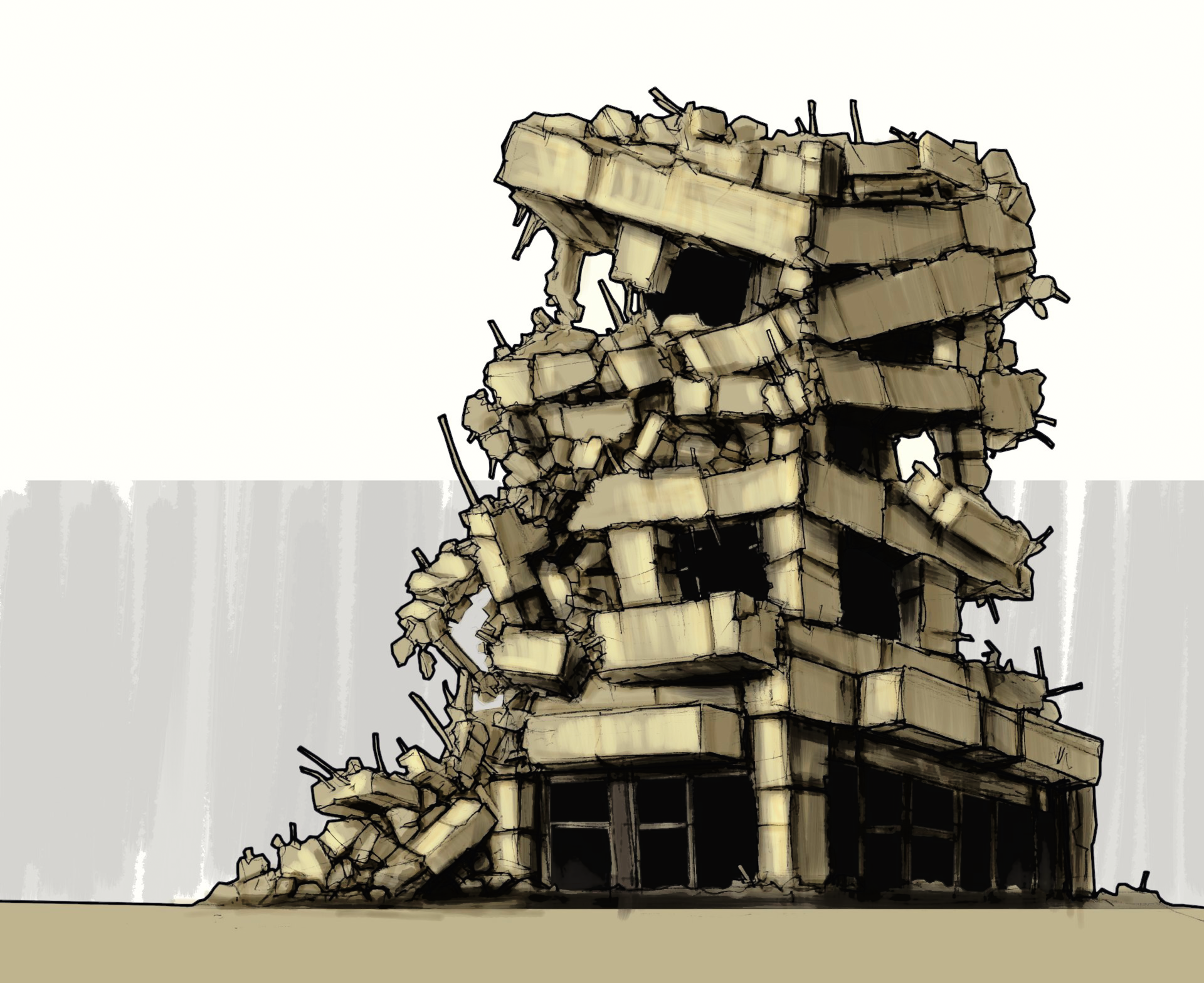 City Destroyed Building Concept