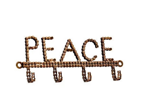 Recycled Bicycle Chain Hook - Peace