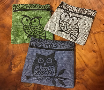 Owl Block Print Cotton Coin Purse