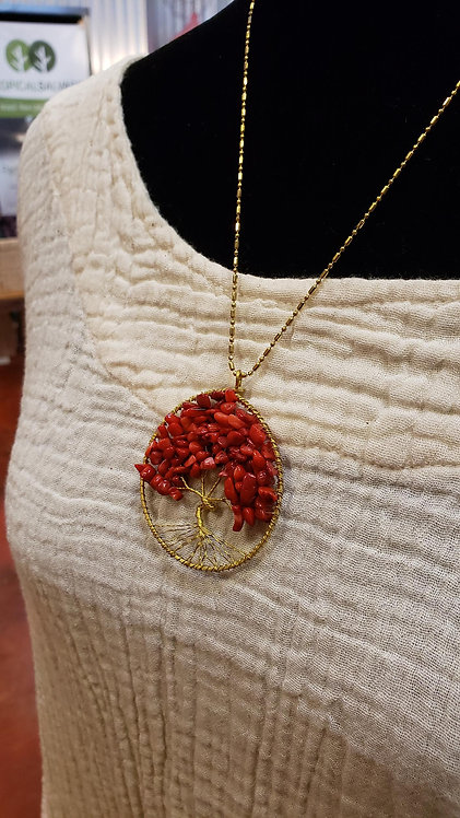 Red Coral Tree of Life Necklace