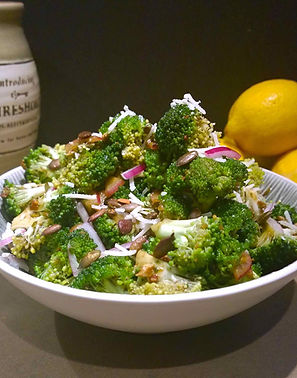 Super Foods Salad of mixed broccoli, spinach, red onion, pumpkin seeds and parmesan cheese