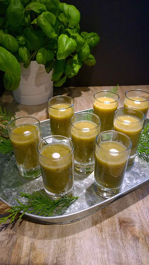 Courgette Soup in Shot Glasses - healthy party food.