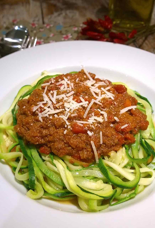 Vegetarian Bolognese over Zucchini Noodles
