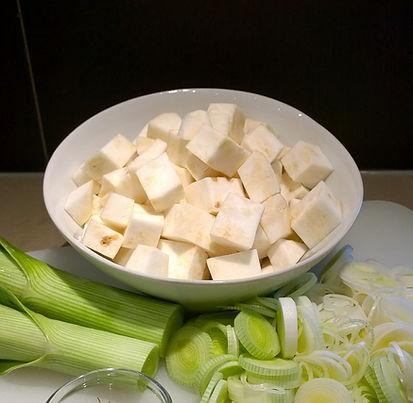 Peel and chop the Celeriac.
