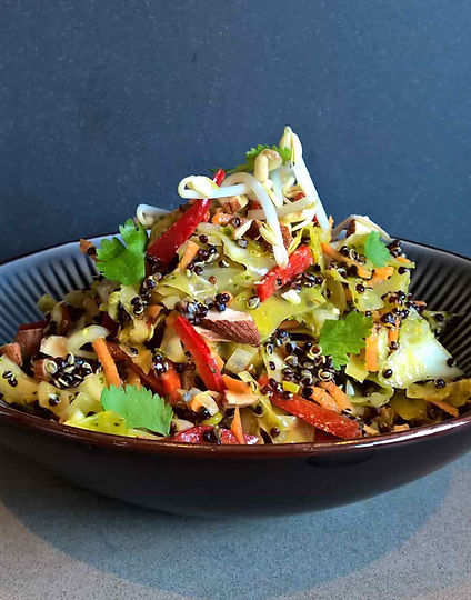 served with black quinoa, almonds and sprouts