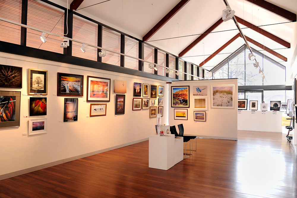 View of the inside of Zig Zag Gallery facing the history village.