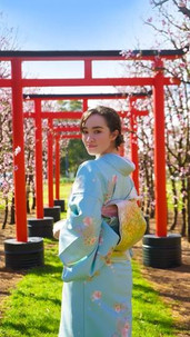 Kimono model Monei at S & R Orchard located in Walliston
