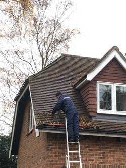 Dry roof cleaning