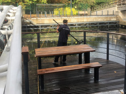 Decking pressure wash and treatment