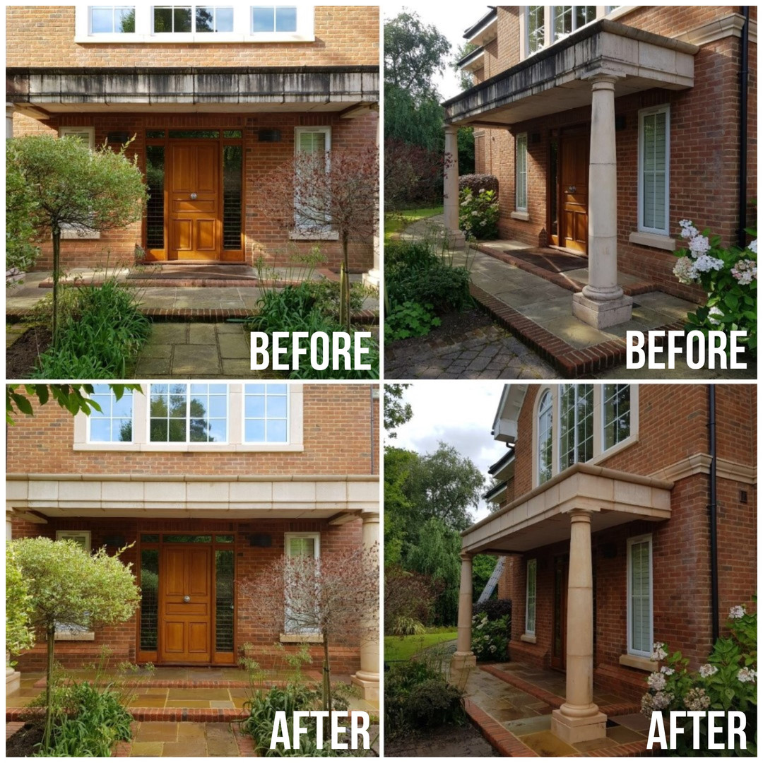 House fontage with pillars - Before & Af