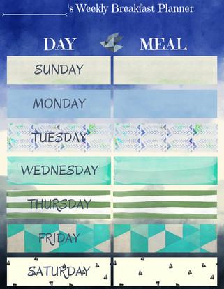 Weekly Breakfast Planner for a boy