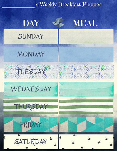 Weekly Breakfast Planner for a boy