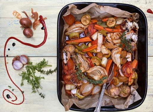 ירקות שורש בתנור במרינדה אסייאתית