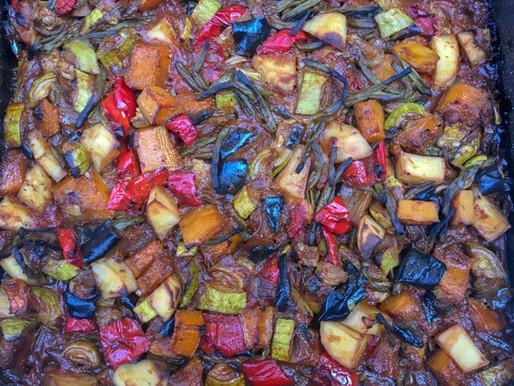 אנטיפסטי אסייתי - ירקות בתנור בניחוח מזרח רחוק
