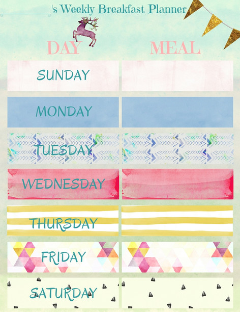 Weekly Breakfast Planner for a girl
