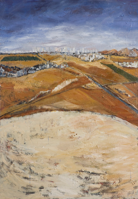 Towards Beersheba from Chauvel Hill, Mixed Media on Canvas