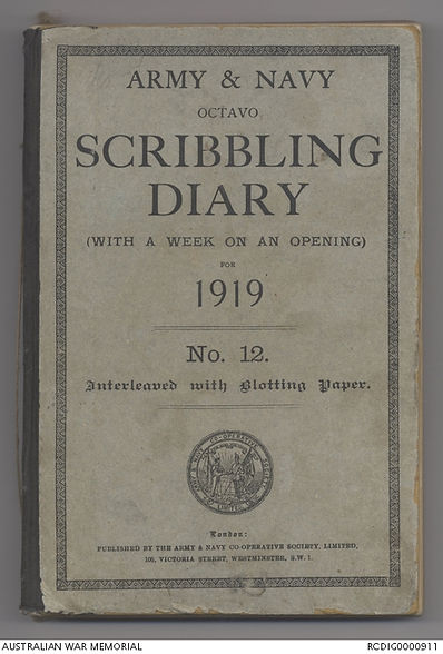 Diary kept by MAJ Chambers 12 LH in 1919