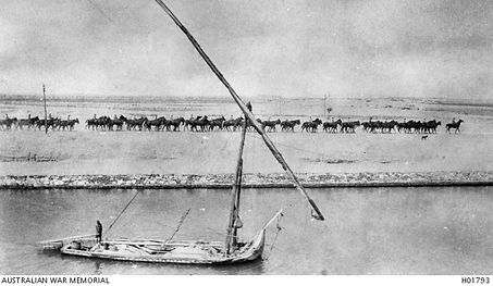 NZ troops riding beside the Suez Canal 1