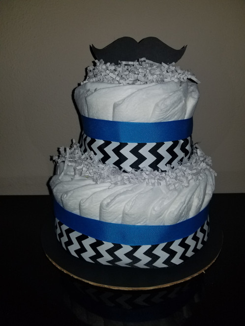 Mustaches With Black White Chevron And Blue Ribbon Diaper Cake