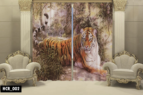 3D Tiger Double Curtain - 300 Cm*260 Cm - Multi color