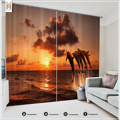 3D Dolphine Curtain - 300 Cm*260 Cm - Multicolor
