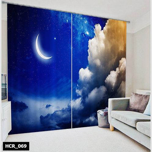 3D Night&Moon Double Curtain - 300 Cm*260 Cm - Multi color
