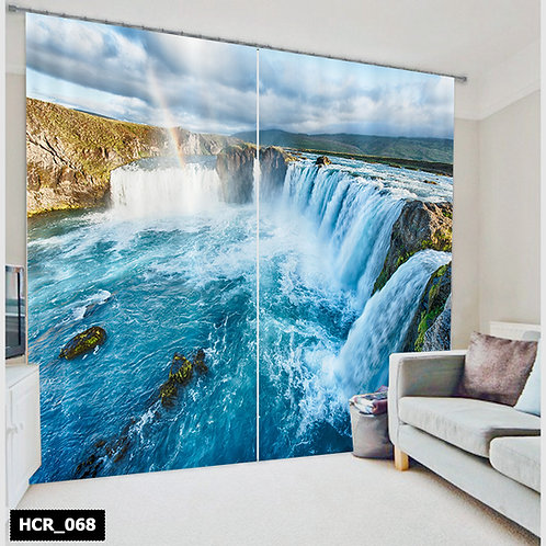 Water falls Double Curtain - 300 Cm*260 Cm - Multi color