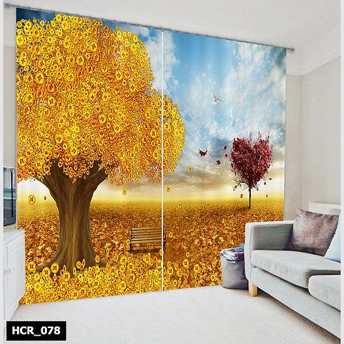 3D yellow Nature-Double Curtain - 300 Cm*260 Cm
