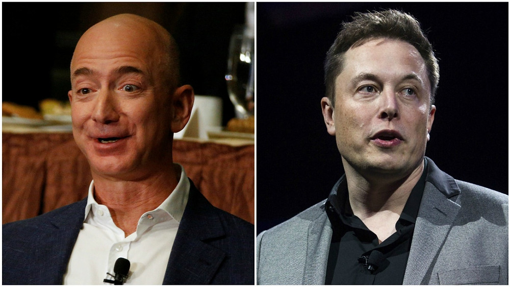 Amazon CEO Jeff Bezos(左);Tesla CEO Elon Musk(右)(路透社、美聯社)