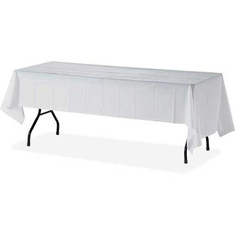 Plastic White Table Cloth cover 137x274cm (Disposable)