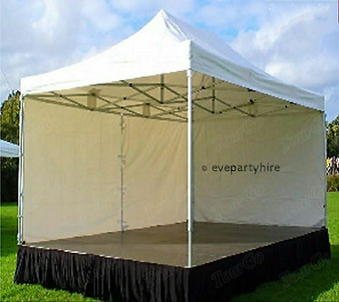 Small Size Outdoor Stage with Pop Up White Marquee Cover.