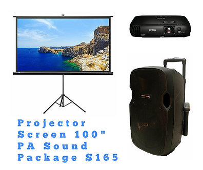 "Package Deal Projector Screen 100"" PA Sound System"