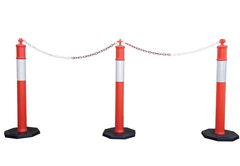 Safety T Top Bollard Barrier Post with Yellow Plastic Chain