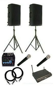 PA Sound System Package  ( 2 x Speakers & 2 x Wireless Mic)