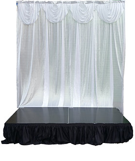 Back drop Adjustable size with White Curtains