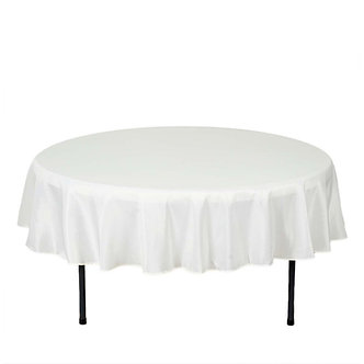 Plastic White Round Table Cover 213cm ( Disposable)