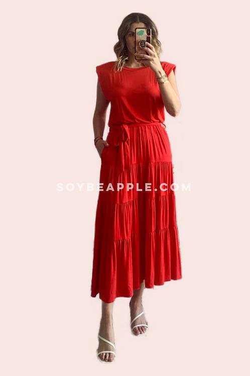 Vestido maxi hombreras rojo