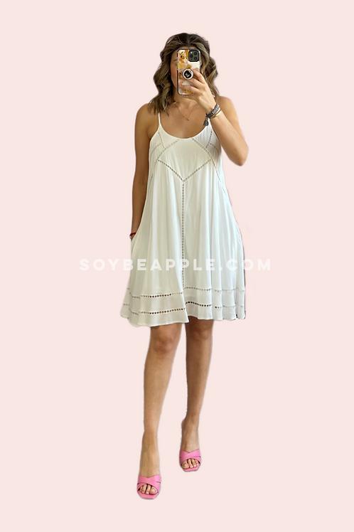 Vestido linea A corto blanco