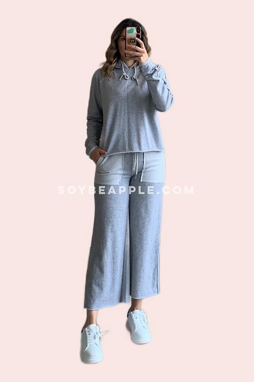 Set pants gris sudadera con gorro y pantalón